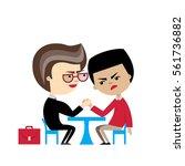 two cartoon businessmen engaged ... | Shutterstock .eps vector #561736882
