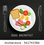 good breakfast lettering   fork ... | Shutterstock .eps vector #561741586