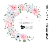 delicate floral vector round... | Shutterstock .eps vector #561742408