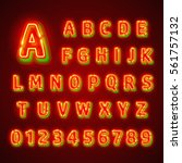 red fluorescent neon font on... | Shutterstock .eps vector #561757132