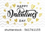 valentine day golden hearts and ... | Shutterstock .eps vector #561761155