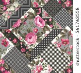 seamless floral patchwork... | Shutterstock .eps vector #561763558
