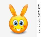cute easter bunny emoticon ... | Shutterstock .eps vector #561765676