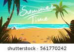 summertime on the beach. palms... | Shutterstock .eps vector #561770242