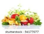 fresh fruits on a white... | Shutterstock . vector #56177077