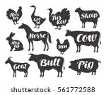 Stock vector farm animals vector set icons collection of silhouettes such as horse cow bull sheep pig 561772588