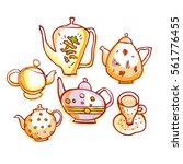 set of teapot isolated on white ... | Shutterstock .eps vector #561776455