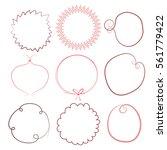 set of round empty frames. hand ... | Shutterstock .eps vector #561779422