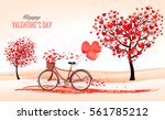 Stock vector valentine s day background with a heart shaped trees and a bicycle vector 561785212