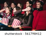 girl in the movies to scary... | Shutterstock . vector #561798412
