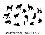 Stock vector dog in various poses outline silhouettes vector 56181772