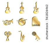 gold music instrument icon set. ...   Shutterstock . vector #561826462
