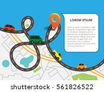 top view city map with road and ... | Shutterstock .eps vector #561826522