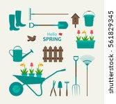 garden set rubber boots ... | Shutterstock .eps vector #561829345