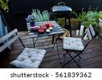 beautiful courtyard with... | Shutterstock . vector #561839362