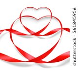 set of red ribbon hearts.... | Shutterstock .eps vector #561845956