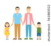 isolated gay family. two... | Shutterstock . vector #561883522