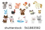 farm animals set. isolated home ... | Shutterstock . vector #561883582