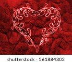 red heart lovely grunge... | Shutterstock . vector #561884302