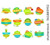 set of fruit and healthy... | Shutterstock .eps vector #561885952