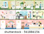 children in hospital set.... | Shutterstock .eps vector #561886156