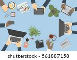 business desk top view with... | Shutterstock .eps vector #561887158