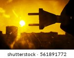 sun energy with plug connection ... | Shutterstock . vector #561891772