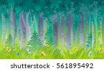 spring summer forest wood... | Shutterstock .eps vector #561895492