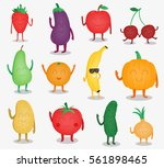 cartoon fruits and vegetables.... | Shutterstock .eps vector #561898465