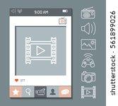 mobile app photo or video frame ... | Shutterstock .eps vector #561899026