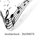 musical note staff background...   Shutterstock . vector #56190073