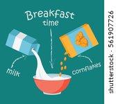 breakfast with milk and...   Shutterstock .eps vector #561907726