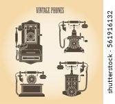 set old vintage phones. vector...