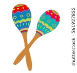 Two Colorful Maracas On White...