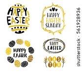 gold and black easter design... | Shutterstock .eps vector #561928936