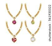 set necklace gems jewelry...   Shutterstock .eps vector #561930322