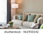 modern living room with green... | Shutterstock . vector #561933142