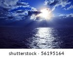 sunset on caribbean sea with... | Shutterstock . vector #56195164