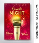 karaoke night poster template... | Shutterstock .eps vector #561953095