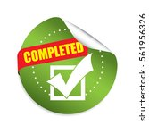 completed green round stickers. | Shutterstock . vector #561956326