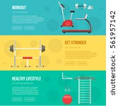 fitness training and gym club... | Shutterstock .eps vector #561957142