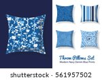 set of throw pillows in... | Shutterstock .eps vector #561957502