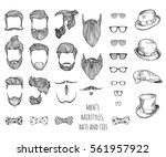 hipster set. beards  glasses ...   Shutterstock .eps vector #561957922