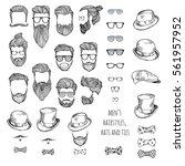 hipster set. beards  glasses ... | Shutterstock .eps vector #561957952
