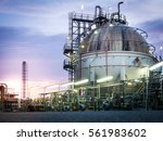 sphere gas storage in... | Shutterstock . vector #561983602
