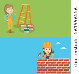 two construction banners with... | Shutterstock .eps vector #561996556