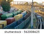railways in train parking at... | Shutterstock . vector #562008625