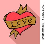 red heart with ribbon love... | Shutterstock .eps vector #562021642