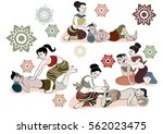 thai massages style in hand... | Shutterstock .eps vector #562023475