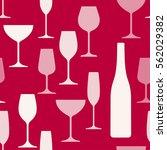 wine glasses and bottle... | Shutterstock .eps vector #562029382